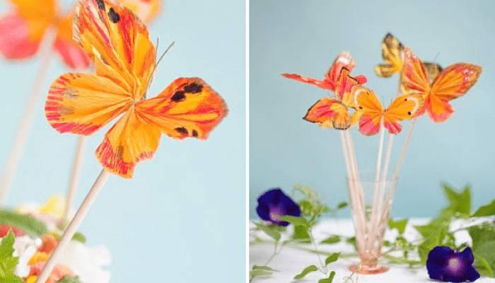 Mariposas de papel crepe decoraciones