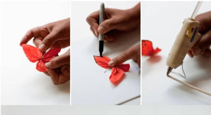 Mariposas de papel crepe para decoraciones